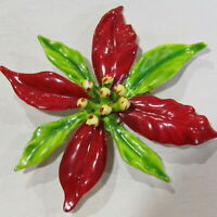 Vintage CHRISTMAS Brooch Poinsettia Flower Pin Red Green Enamel 3""
