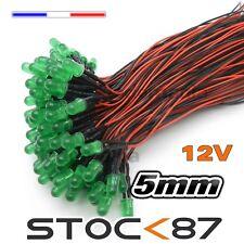 C449# LED 5mm 12v pré-câblé vert diffusante 5 à 100pcs - pre wired LED green