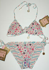 Juicy Couture Womens Angel Stripes Reversible Swimsuit 2 pc Bikini Set S NWT$170