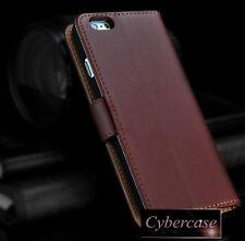 Iphone 7 Estuche tipo Billetera de Cuero Genuino Marrón Libro Soporte para tarjetas de negocios & S