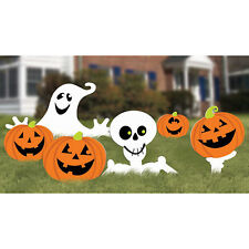 Halloween Party Family Friendly Skeleton and Ghost Corrugate Garden Stake Signs