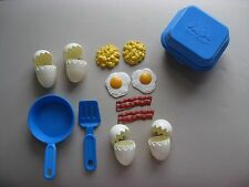 VTG FISHER PRICE 1987 FUN WITH FOOD ●● PLAY CRACKED EGGS SHELLS BACON CARTON SET