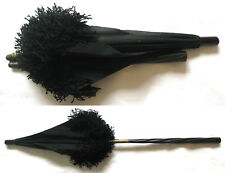 Antique Mid-Late Victorian Black Silk Carriage Parasol Umbrella ca. 1870-1885