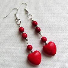 Red Howlite Heart Gemstone Drop/Dangle PIERCED Earrings Jellybean