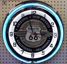 "18"" Route US 66 Sign Double Neon Clock Americas Mother Road"