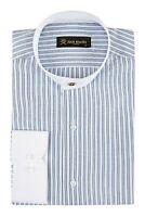 Jack Martin - Peaky Blinders Style - Blue Stripe Grandad Collar/Collarless Shirt