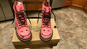 DR. MARTENS HINCKY ACID PINK  SMOOTH SMILEY EMOJI BOOTS WOMEN'S 6 NEW!