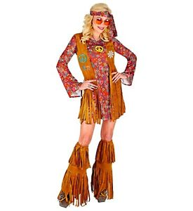 Hippy Adulto Donna Costume Hippy TORCE Top Vestito Anni/'60/'70 FANCY DRESS SIZE 6-28
