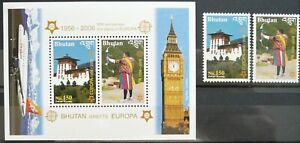 Bhutan Souvenir Sheet and Stamps - Bhutan Greets Europa_2006 - MNH.
