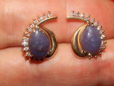 & Purple Cabochon Russian Charoite Earrings New listing 14K Yellow Gold 6.56 Tcw Diamond