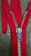 "USA VTG RARE NOS Jacket Zipper IDEAL #10 Separating Metal Aluminum=21.75"" RED"