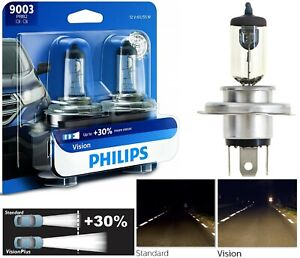 Philips VIsion 30% 9003 HB2 H4 60/55W Head Light Two Bulb High Low Beam Upgrade