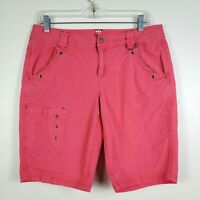 Title Nine Womens Brash Shorts Mid Rise Long Bermuda Stretch Cargo Pink Size 10