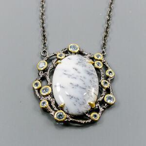 Fine Art Dendritic Jasper Necklace 925 Sterling Silver  Length 19.75/N05646