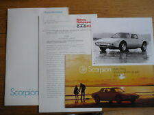 RARE, SCORPION CARS PRESS RELEASE AND BROCHURE, MOTOR SHOW 1973 Jm