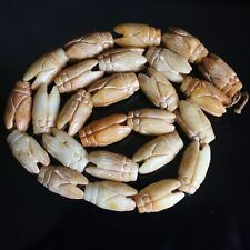 22x11mm  Carved Chinese old jade cicada loose beads   g4498