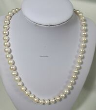 Genuine silver 8-9mm circle freshwater pearls necklace L46cm free earing White