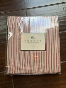 NIP Pottery Barn Classic Ticking Stripe Bed Skirt Juponnage Queen Grand Lit  Red