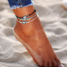3pcs Vintage Anklets for Women Bohemian Retro Turtle Rope Anklet Beach Bracelet