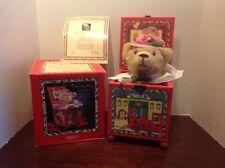 """Enesco """"Engineer Bear"""" Yuletide Teddy Musical Jack-In-The-Box by Pat Fye 1988"""