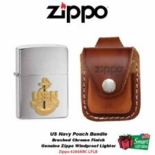 Zippo US Navy Emblem Lighter and Brown Leather Loop Pouch #280ANC_LPLB