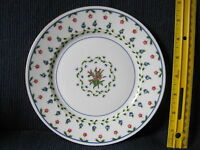 Limoges Raynaud LAFAYETTE SALAD PLATE Rare 7.5/8 white gold rim floral blu red