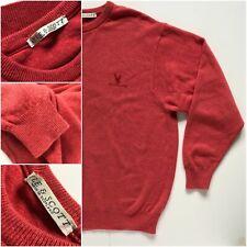 Lyle & Scott Pure New Wool Pink Crew Neck Jumper Size M Med Warm Men's Pullover