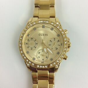 Guess Watch Women Gold Tone Pave Crystal Day Date 7.5 Inch New Battery