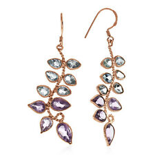 11.65 Carat Amethyst & Blue Topaz Earrings in 10K Rose Gold Over Sterling Silver