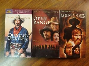 """Quigley Down Under, Open Range, The Mountain Men  VHS """"Lot of 3"""""""