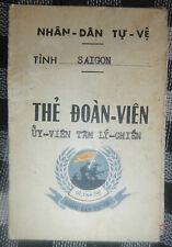 SAIGON DISTRICT MILITIA - ARVN - ID CARD / LIVRET - 1972 - Vietnam War - 0898