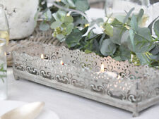 GREY METAL NORDIC VINTAGE ANTIQUE CANDLE TRAY HOLDER WEDDING WEDDING CHRISTMAS