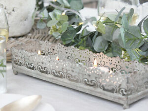 GREY METAL NORDIC VINTAGE ANTIQUE CANDLE TRAY HOLDER WEDDING WEDDING DECOR  CHIC