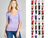 Women Basic V-NECK Elbow SHORT Sleeve T Shirt Top Cotton Stretch REG N PLUS S-3X