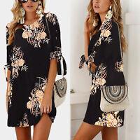 Women Floral Mini Dress Summer Short Sleeve Tunic Long Top Casual Beach Sundress