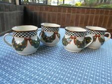 MacKenzie-Childs Evergreen Enamel Lot of 4 Mugs #1
