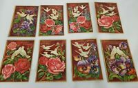 8 Vintage Birthday Embossed Postcards Floral Germany Series 5800 Doves & Flowers