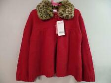 New Girls Gymboree Red Cardigan Sweater w/Removable Leopard Faux Fur Collar Sz 6