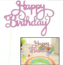 NEW HAPPY BIRTHDAY Cake Toppers Glitter Calligraphy Bling Sparkle Decoration UK