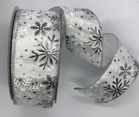 """White Silver Snowflakes,  2 1/2"""" x 5 yds, Foil, Wired Christmas Ribbon BTY"""