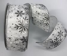 "White Silver Snowflakes, 2 1/2"" x 5 yds, Foil, Wired Christmas Ribbon Bty"