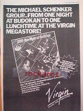 "MICHAEL SCHENKER 1 Night At Budokan(Virgin) 1982 Poster size Press ADVERT 16x12"""