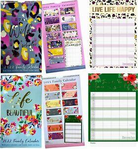 2022 Family Organiser 5Columns Calendar Planner Month to View Long Wall Calendar