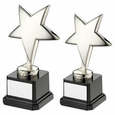 Die cast Silver Metal Plated Star Trophy Achievement Award - FREE Engraving ty67