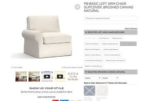 Pottery Barn - PB Basic Sectional SLIPCOVER ONLY - Brushed Canvas Natural Color