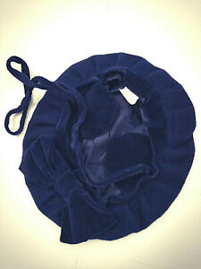 """Rothschild Girl's Beret Hat 21"""" Navy Blue Bow and Chin Strap 100% Wool Felt"""