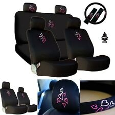 New Multi  Pink Heart Car Auto Truck Seat Steering Covers Gift Set For BMW