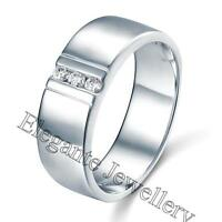 Mens Solid 925 Sterling Silver Wedding Dress Ring Simulated Diamond size 9, 10