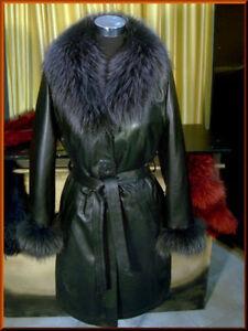 Giacca Giubbino Cappotto in/di pelle pelliccia polsi