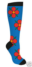 Sock Me Baby Cotton Knee High Socks Ladies Blue With Red Flowers Design New